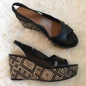 Tahari Black Alyssa sling-back Wedge Size 8
